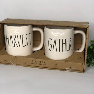 2 Rae Dunn HARVEST & GATHER Mug set